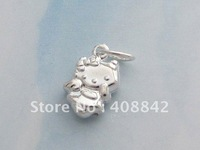 Min order $5 Free shipping 925 Sterling Silver Hello Kitty Charm Pendant PA23 DIY Jewelry Fit Bracelet Earring Necklace Gift