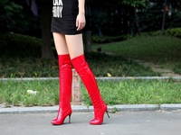 New Sexy fashion Patent Leather knee High Heels Fashion Boots high heels shoes US size  4-8.5   CXYY8-3