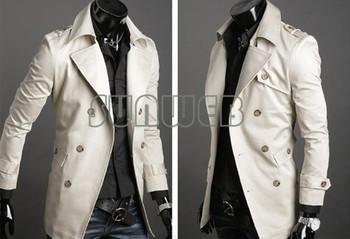 2013 Men's Stylish Double Breasted Long Trench Coat Jacket Windbreak dropshopping 3386
