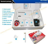 free shipping wireless and wired  home security GSM alarm system with sms and auto dial function 900/1800/1900mhz