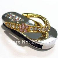 golden/silver shoe jewelry usb drive for lady gift 1GB/2GB/4GB/8GB/16GB/32GB free shipping!