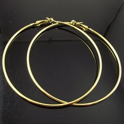 24 Pairs 80mm Gold Plated Hoop Earrings Big Circle Earring Promotion Paparazzi Basketball Wives Earrings Free Shipping(China (Mainland))