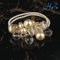 Free Shipping 12pcs/lot Cream Crystal Stretchy Fashion Bead  Flower Handmade HairwearHP0007