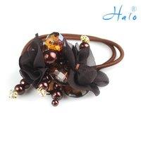 Free Shipping 12pcs/lot Fashion Beaded Handmade Ponytail Holder Flower Elastic Stretchy Flower Hair Pins HP0014