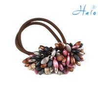 Free Shipping 12pcs/lot Hair Headbands Ponytail Holder Beaded Elastic Fashion Hair Pieces HP0020