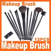 Big discount 12 PCS Professioal Makeup Brush Set with Black Leather Case, Free Shipping
