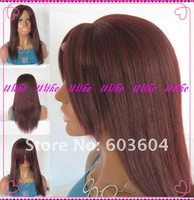 Ulike Wig--Free Shipping 2013 Top Quality Fashion Style Indian Remy Human Hair full Lace Wig With Bang