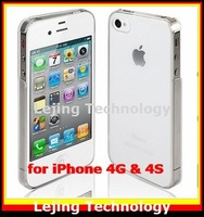 DHL FEDEX free shipping crystal clear case for iPhone4 iphone 4S, transparent plastic back cover case christmas gift wholesale