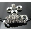 HOT Fashion DIY 100pcs 10MM/12MM Silver Plated Core White Rhinestones Crystal Spacer Charm European Beads Biaqi Bracelet Chains