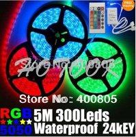 led licht rgb 5050 5m 300led 12V led strip waterproof garden x-mas Light Tiras LED 24key Remote Control luces de navidad x 25set
