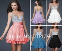 New Womens Sweety Prom Gown / bithday Party Dress- Clour:White,Blck,Blue,Pink  Size: 0(34#),2(36#),4(38#),6(40#),8(42#),10(44#)