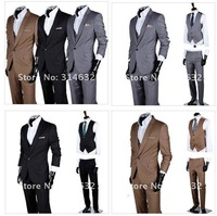 Promotional!!Hot Sell Fashion Men's Casual Slim fit Skinny business suits Men's clothes/coat three-piece (coat+vest+pant)