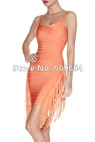 Guaranteed 100% New Silk Bandage Celebrity Evening Dress Women&#39;s Cocktail/Sexy Dress Orange Backless