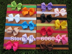 "baby Elastic Headbands,soft stetch headband with 3.3""-3.5"" baby ribbon bows,50pcs/lot free shipping(China (Mainland))"
