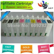 Refillable cartridge for Epson 3800,with compatible chips sensor,9 colors(PHK,MK,LK,LLK,C,M,Y,LC,LM),80ML/color