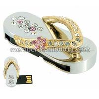 Free Shipping,1GB/2GB/4GB/8GB/16GB Jewelry Gold Sandal Slipper USB Flash Memory Disk Pen Drive