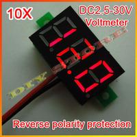 Wholesale 10pcs/lot Brand New DC 2.5V-30V Red Digital Voltage Panel Meter Voltmeter+Free shipping-10000325