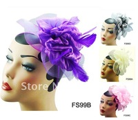 2012 Fashion Hair Accessories, 3 colors , Free shipping, Feather Flower Veil Royal Hat Fascinator