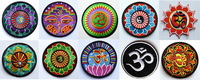 Free Shipping!  10 kinds of yoga lotus retro hippie applique iron-on patch iron on applique motif, garment embroidery Biker DIY