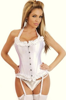 ladies sexy corset in satin  ( size s-2xl ) Y6159  many color available white in  satin steel bone -white satin corset