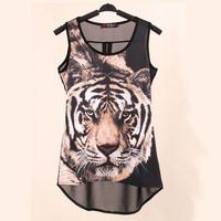 2014 European New Style Tiger Print Tanks Vest Casual shirt Chiffon Leopard Sleeveless Shirt Tops for Ladies TS-089