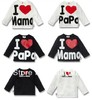 Free shipping love papa I love mama t-shirts  boys girls t-shirts  and MAMA / PAPA love ME You can choose to order  t-shirt
