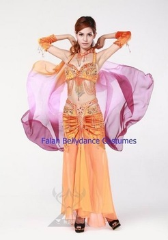 New!High advanced belly dancing full costume set/Bra+Skirt+Necklace+Armbands/Super star stage wear/Performing set /Falah
