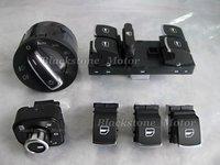 6 Pcs Combo Set Chrome Interior Headlight Window Mirror Switch Control Golf Jetta Mk5 Mk6 Eos Tiguan Touran Caddy Passat B6 CC