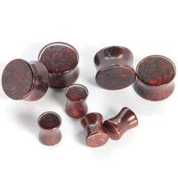 60 Pieces/LOT Assorted Poppy Jasper Double Flared Stone Plugs Saddle Ear Plugs Body Jewelry