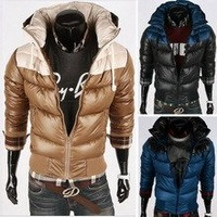 Men's jackets Men's Quilted Short Down Jacket  fox fur collar Slim Down coat   free shipping