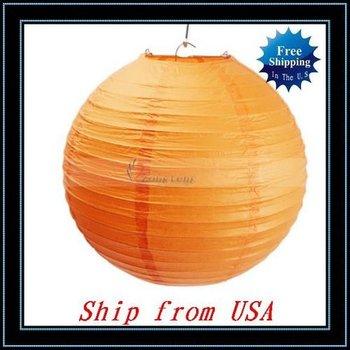 "Free Shipping + Wholesale 10pcs/lot 10"" Chinese Lantern,Sky Lantern Wedding Party Decoration Orange Ship from USA-J05044"
