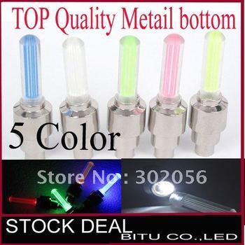 100pcs/lot TOP Quality Retail packing 5 color on sale Metal bottom LED Flash Tyre Wheel Valve Cap Light TL001M