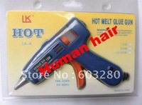 Free Shipping 1 piece hot fusion glue gun 15W- EU Plug 220Voltage for Keratin Nail tip/  flat tip human hair extensions,tool