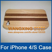 New Arrival, For iPhone 4 4S Striped Wooden Case, Promotion, Retail, Wholesale, Free Shipping, #204004