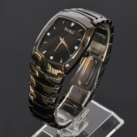 New SOKI Classic Black Mens Luxury Analog Quartz Stainless Steel Band Gfit Watch W088