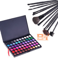 New Pro 120 Color Eyeshadow Palette + 12 Pcs Makeup Brush Set Kit + Brushes with free bag