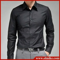 Men's new business shirt casual wear dress shirts man's pure long-sleeved shirts Plus Size 5colors S-XXXL Free shipping MTS173