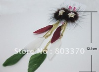 Feather earrings,stocktake sale ,Multicolored cubic zircon,Min Order USD 10,Mix designs