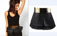 214 NEW CELEBRITY STYLE BLACK Ruffle PU Leather & Gold Metal Detail Cummerbund Belt Pleather PEPLUM Fashion