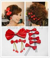 2014 new silk levels rose red hairclips,1sets\lot Bowknot Bridal Hairpins,free shipping+guaranteed100% fashion Headwear