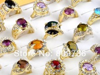 wholesale jewelry lots 20pcs 18K gold plated cz rings mulcticolor crystal wedding rings fashion rings for women Free Shipping