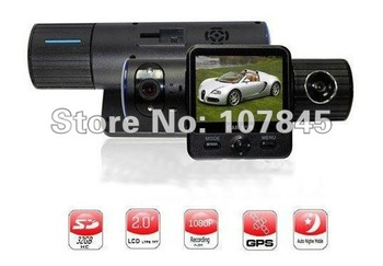 Free shipping Car DVR Car Black Box X6000 with HD Dual Lens + G-Sensor + GPS + IR Light car camera car recorder