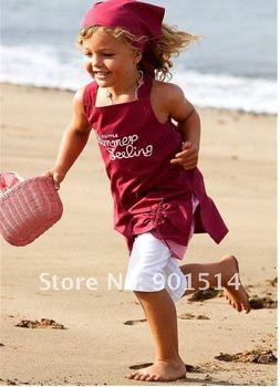 2014 Newest 5 sets girls beach suits,children beach sets(headband+shirt+shorts) girls clothing free shipping