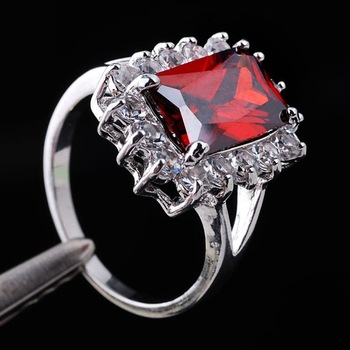 30pcs Emerald Cut Red Garnet Crystal Lady Fashion Silver-tone Ring Size 7 18KT GF Gemstone Wholesale J0314
