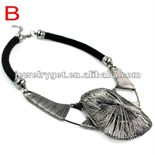 Free Shipping,Fashion oversized wire winding necklace, 2 colors available, NL-1613(China (Mainland))