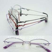 Wholesale B522 designer titanium Semi Rimless with titanium and acrylic drills temples optical eyeglass frames free shipping(China (Mainland))