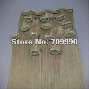 Synthetic clip in on hair extension Kanekalon high temperature fiber 7pcs 100g 1set 18 20 22 24 inch #613 Bleach blonde