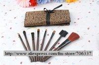 Wholesale free shipping 8 in 1 Make Up brush set High Grade pure natural animal Hair Makeup brush Kit cosmetic tool bag/BY-002