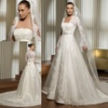 3495 Lace Bust and Long Sleeves Jacket Satin Bridal Wedding Dress Gown
