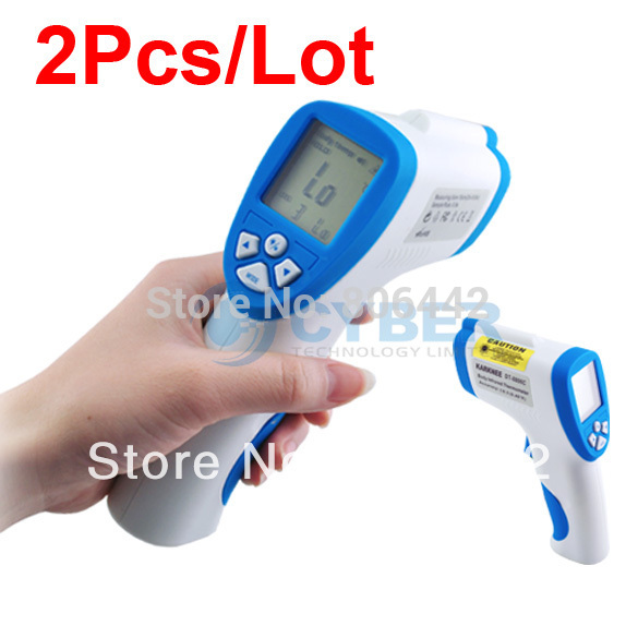 2Pcs/lot Non-contact Digital IR Laser Infrared Thermometer Body Surface Forehead Temperature Free Shipping(China (Mainland))